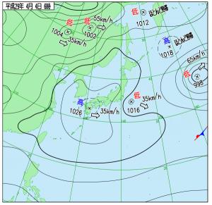 4月4日(火)6時の実況天気図