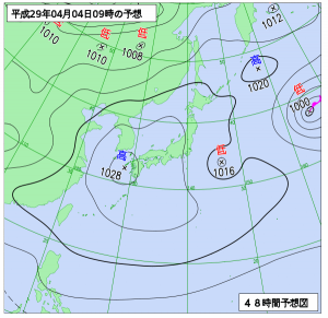 4月4日(火)9時の予想天気図