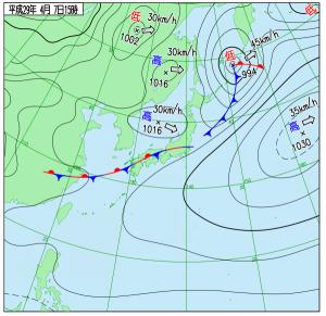 4月7日(金)15時の実況天気図
