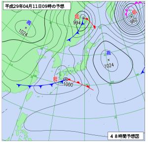 4月11日(火)9時の予想天気図