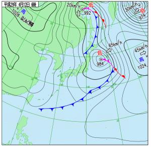 4月12日(水)6時の実況天気図
