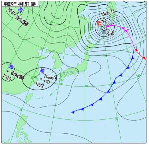 4月13日(木)6時の実況天気図