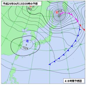 4月13日(木)9時の予想天気図