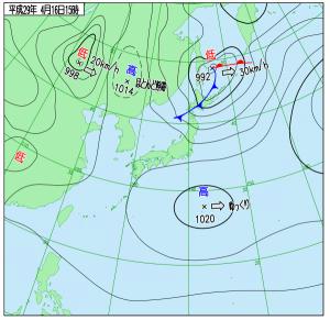4月16日(日)15時の実況天気図