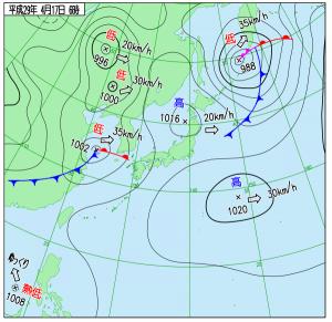 4月17日(月)6時の実況天気図