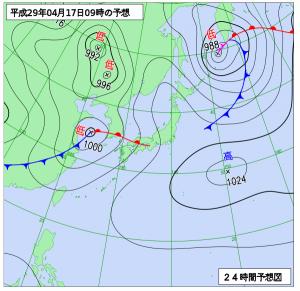 4月17日(月)9時の予想天気図