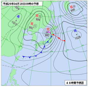 4月18日(火)9時の予想天気図