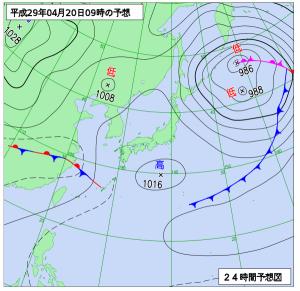 4月20日(木)9時の予想天気図