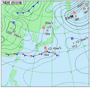 4月21日(金)15時の実況天気図