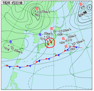 4月22日(土)15時の実況天気図