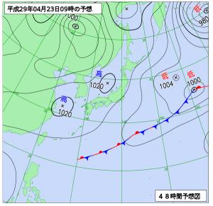 4月23日(日)9時の予想天気図