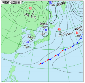 4月23日(日)15時の実況天気図