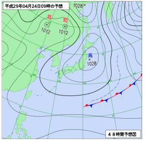 4月24日(月)9時の予想天気図