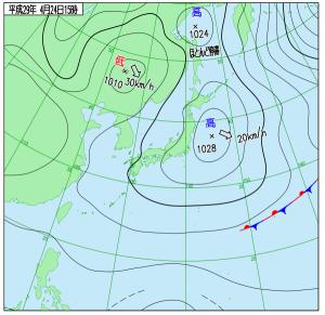 4月24日(月)15時の実況天気図