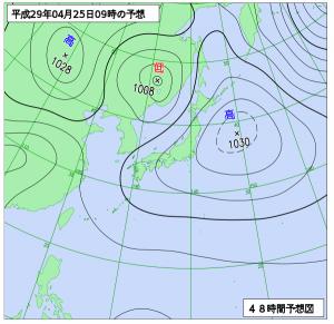 4月25日(火)9時の予想天気図