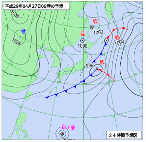 4月27日(木)9時の予想天気図