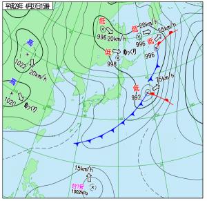 4月27日(木)15時の実況天気図
