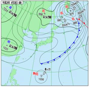 4月28日(金)6時の実況天気図