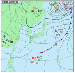 4月28日(金)15時の実況天気図