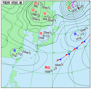 4月29日(土祝)3時の実況天気図