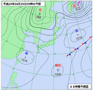 4月29日(土09時の予想天気図
