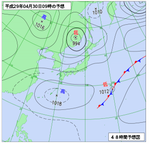 4月30日(日)9時の予想天気図