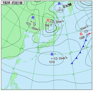 4月30日(日)15時の実況天気図