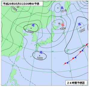 5月1日(月)9時の予想天気図