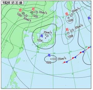 5月2日(火)6時の実況天気図
