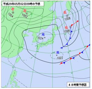 5月2日(火)9時の予想天気図