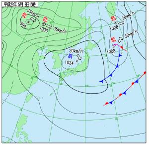 5月2日(火)15時の実況天気図