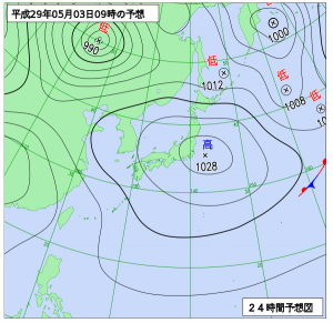 5月3日(水祝)9時の予想天気図