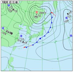 5月7日(日)6時の実況天気図