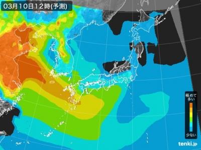 PM2.5分布予測(3月10日12時)