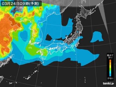PM2.5分布予測(3月24日9時)