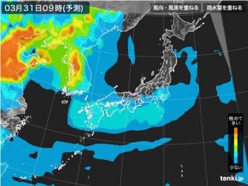 PM2.5分布予測(3月31日9時)