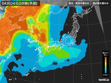 PM2.5分布予測(4月4日9時)