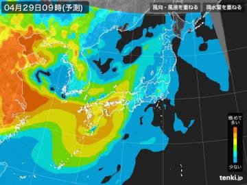 PM2.5分布予測(4月29日9時)