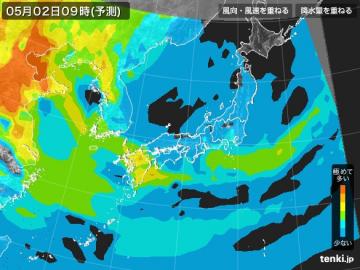 PM2.5分布予測(5月2日9時)