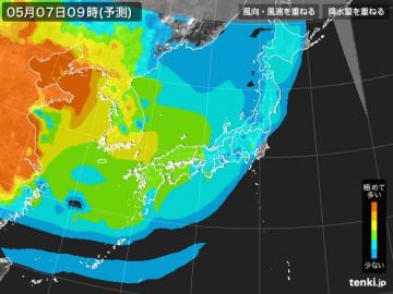 PM2.5分布予測(5月7日9時)