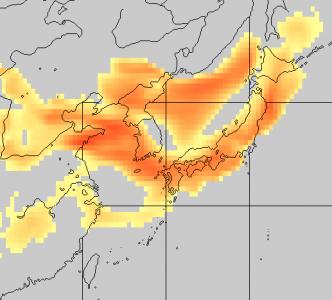 黄砂予測図(5月7日6時)
