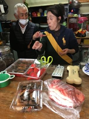 喫茶JouJouXに届いた猪肉とイチゴ