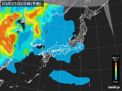 PM2.5分布予測(3月25日9時)