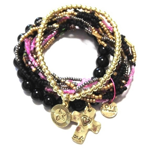 c001 multi colored coco bracelet set black (4)