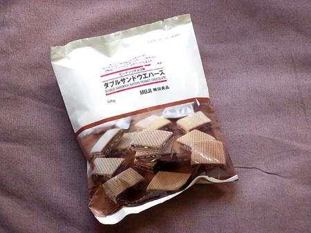 ダブルサンドウエハース ピーナッツチョコ味 MUJI