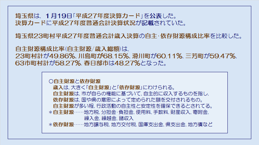埼玉県23町村平成27年度普通会計歳入決算・自主財源・依存財源・コメント