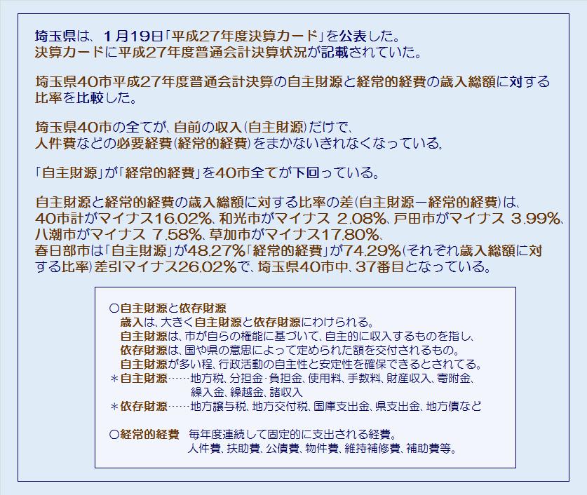 埼玉県40市平成27年度普通会計決算・自前の収入だけで必要な経費をまかなえるか・コメント