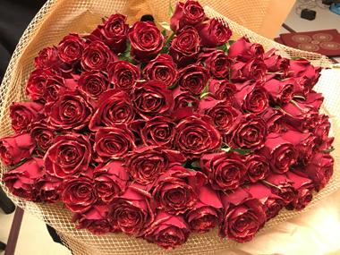 金婚式 煌薔薇 赤バラ 花束 豊川 花屋 花夢