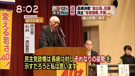 主党の石井一選挙対策委員長は、都内で開かれた同党参院議員のパーティーであいさつし、「時代に逆行するような選択を長崎の方がされるのなら、民主党政権は長崎に対しそれなりの姿勢を示すだろう」などと長崎県の有