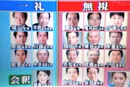 「民主党の新大臣たちが日本国旗に一礼しなかった件」